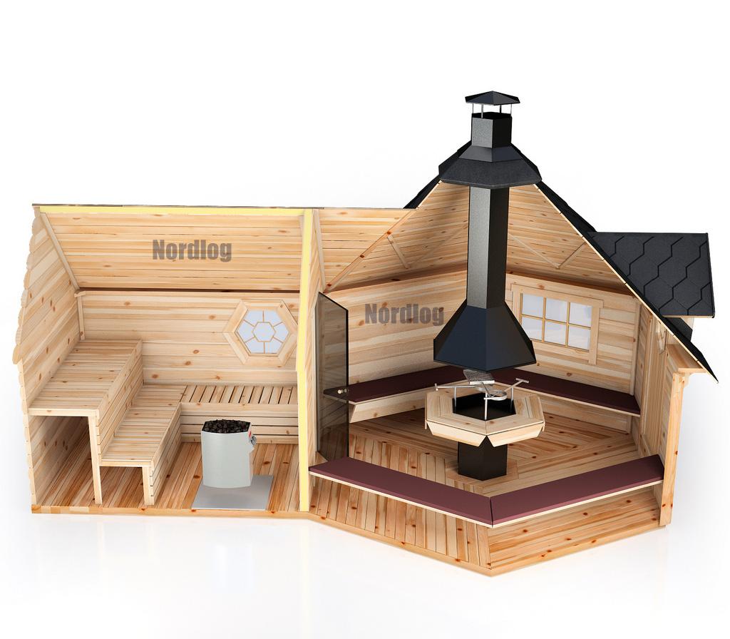 nordlog grillkota 9 2m2 mit verl ngter saunaanbau. Black Bedroom Furniture Sets. Home Design Ideas