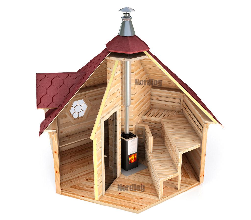 nordlog saunakota mit vorraum 9 2m2 saunahaus gartensauna saunah tte au ensauna ebay. Black Bedroom Furniture Sets. Home Design Ideas